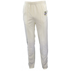 WHITE CRICKET TROUSERS WITH LOGO SENIOR